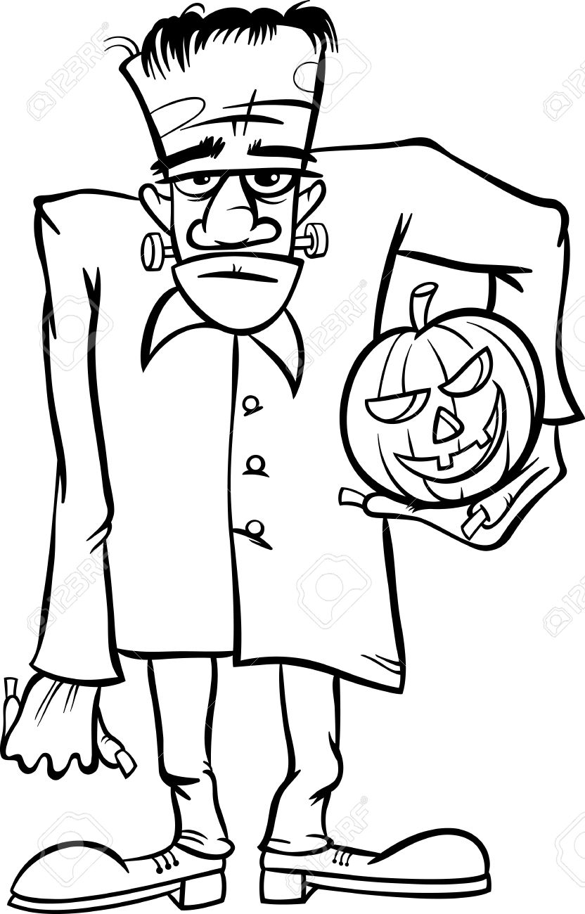 Black And White Cartoon Illustration Of Spooky Halloween Zombie Or Frankenstein Like Monster For Coloring Book