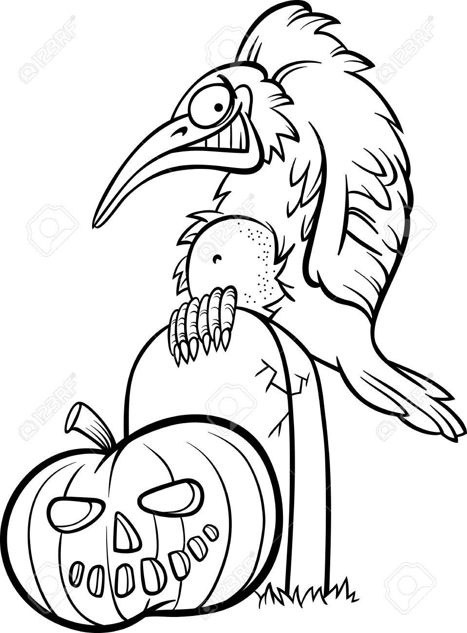 Blanco Y Negro Ilustración De Dibujos Animados De Cuervo Spooky O ...