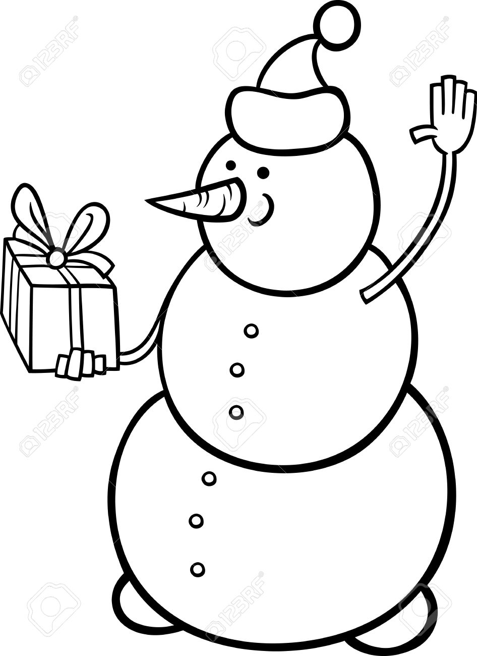 black and white cartoon illustration of snowman as santa claus character with christmas present or gift