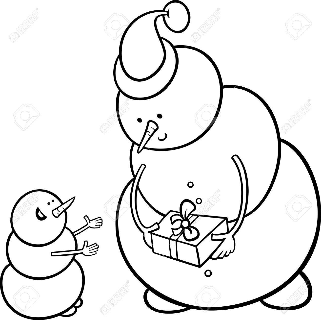 Immagini Di Babbo Natale In Bianco E Nero.Bianco E Nero Fumetto Illustrazione Del Pupazzo Di Babbo Natale Che Da Carattere Regalo Di Natale O Regalo A Little One For Coloring Book