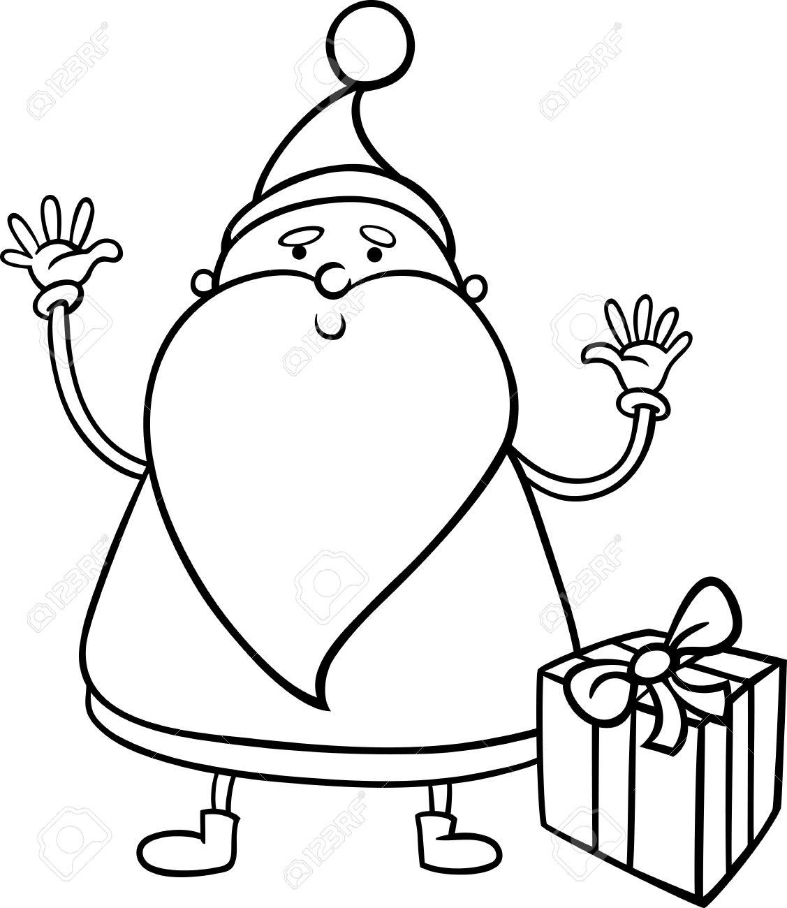 Dessin Animé Noir Et Blanc Illustration De Mignon Personnage Du Père Noël Avec Le Cadeau Ou Cadeau Pour Coloring Book