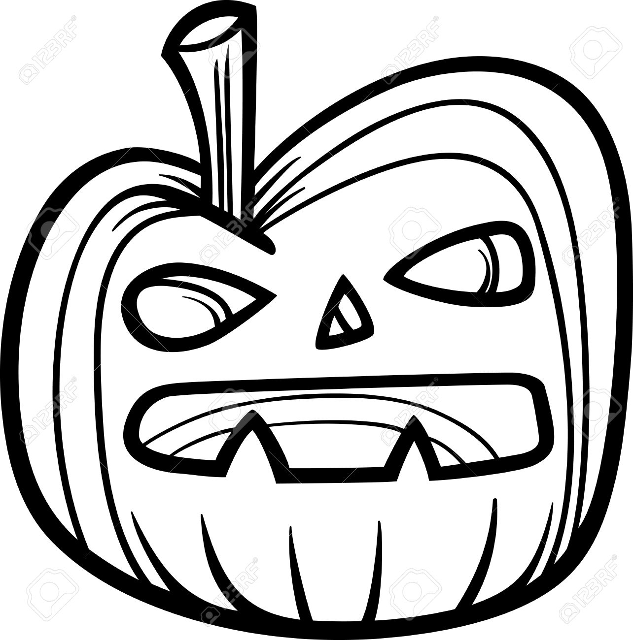 black and white cartoon illustration of spooky halloween pumpkin rh 123rf com black and white pumpkin pie clipart clipart pumpkin black and white