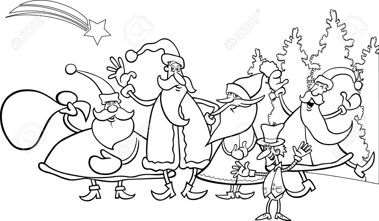 Black And White Cartoon Illustration Of Santa Claus Group With ...