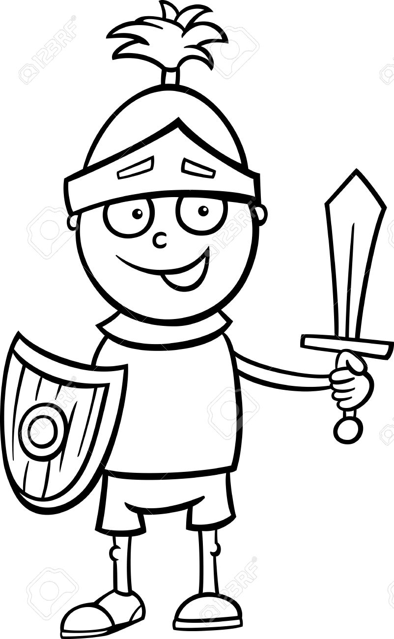 black and white cartoon illustration of cute little boy in knight