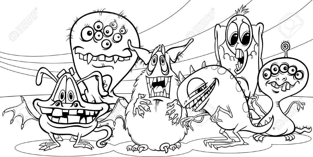 Blanco Y Negro Ilustración De La Historieta De La Fantasía Monsters ...