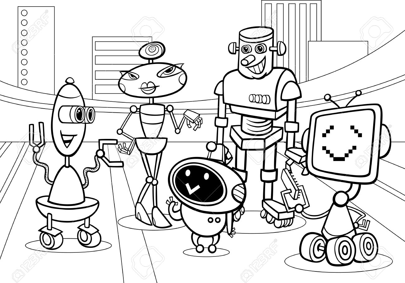 Black And White Cartoon Illustration Of Funny Robots Or Droids