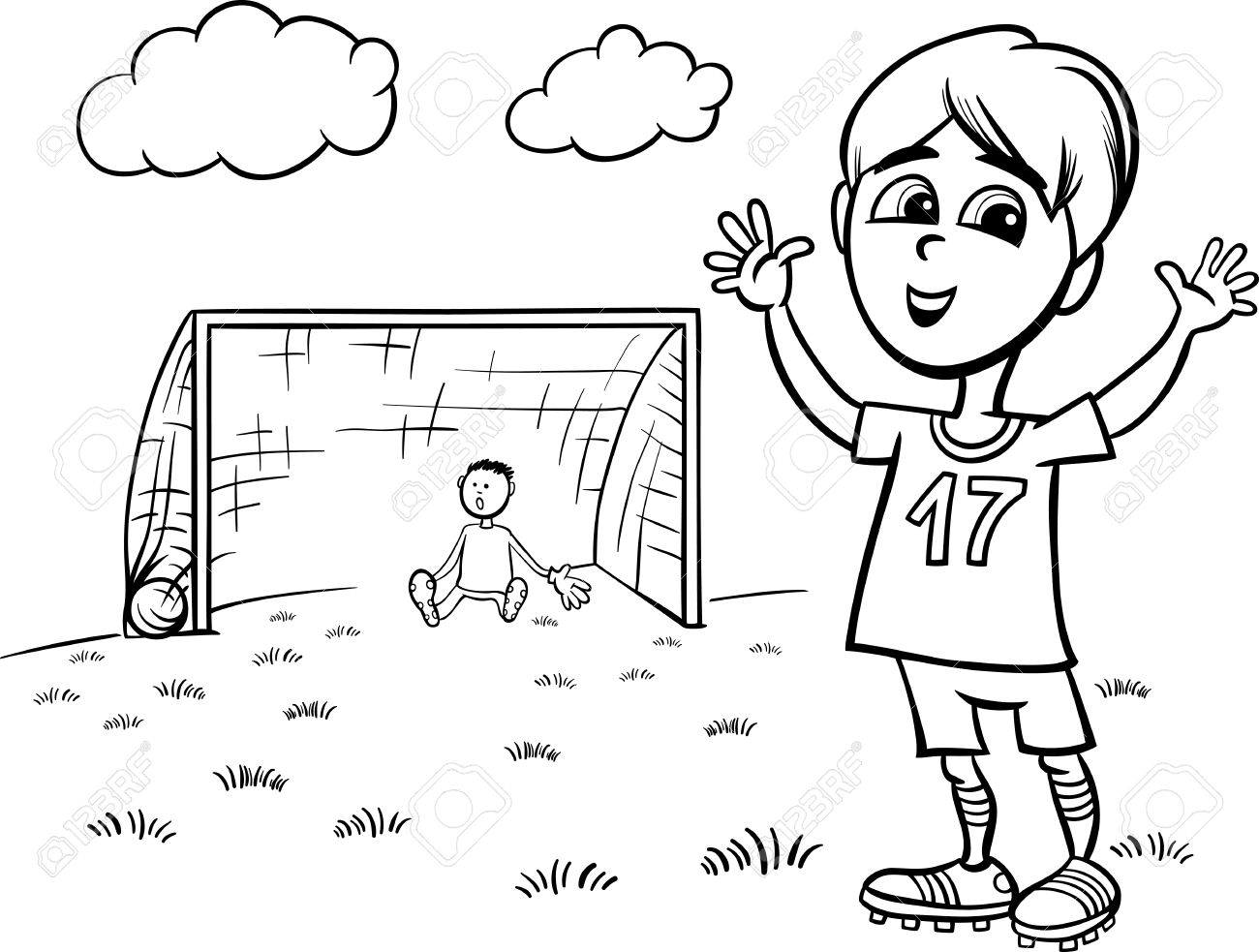 black and white cartoon illustration of cute boy playing football