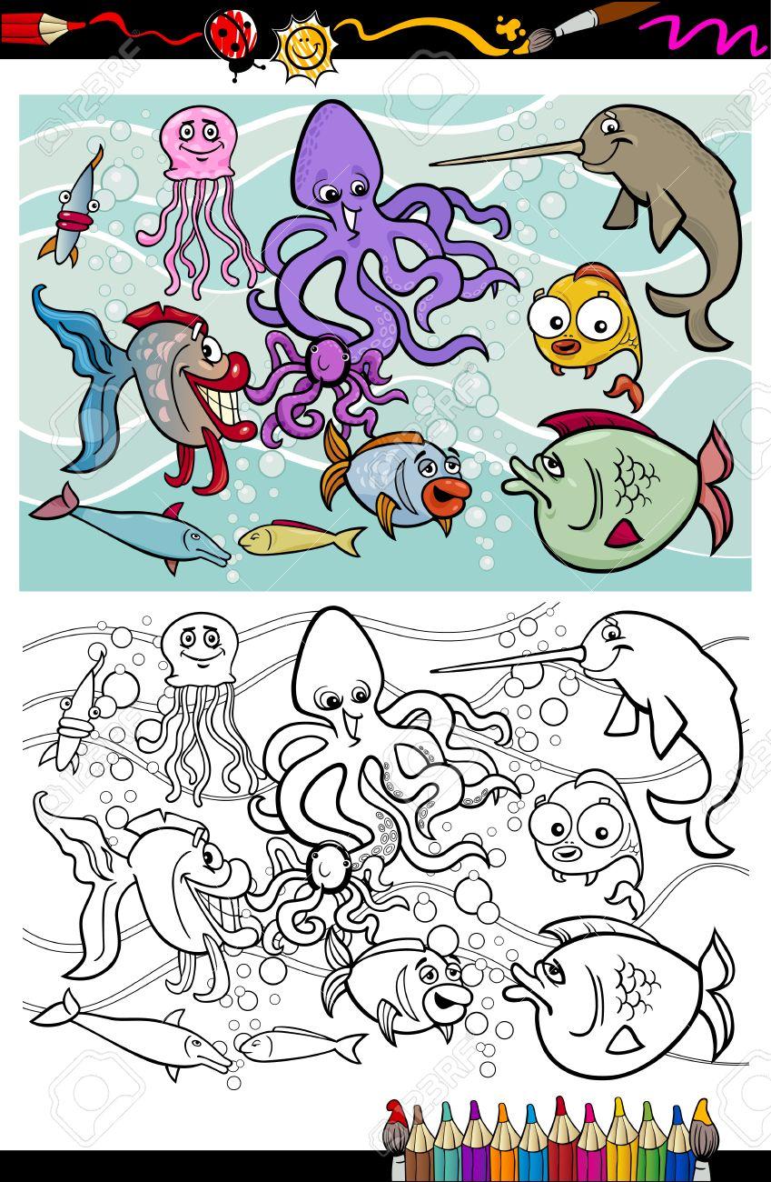 Coloring Book O Página Ilustraciones De Dibujos Animados Divertidos ...