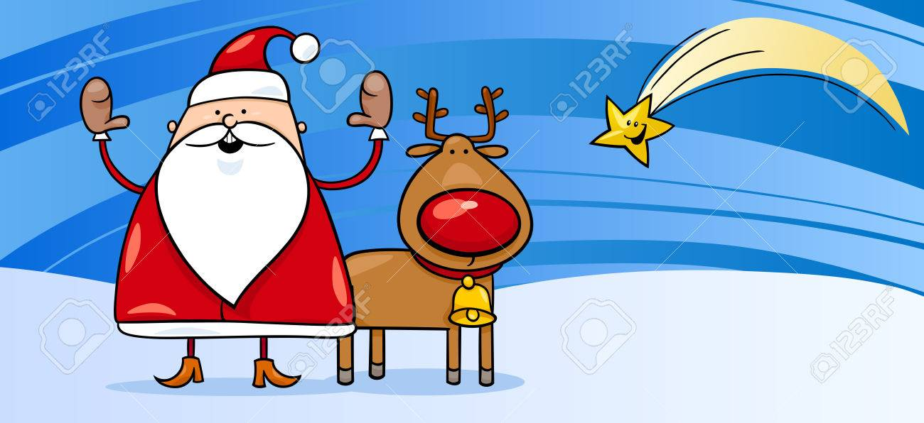 Father Christmas Cartoon Images.Greeting Card Cartoon Illustration Of Santa Claus Or Father Christmas