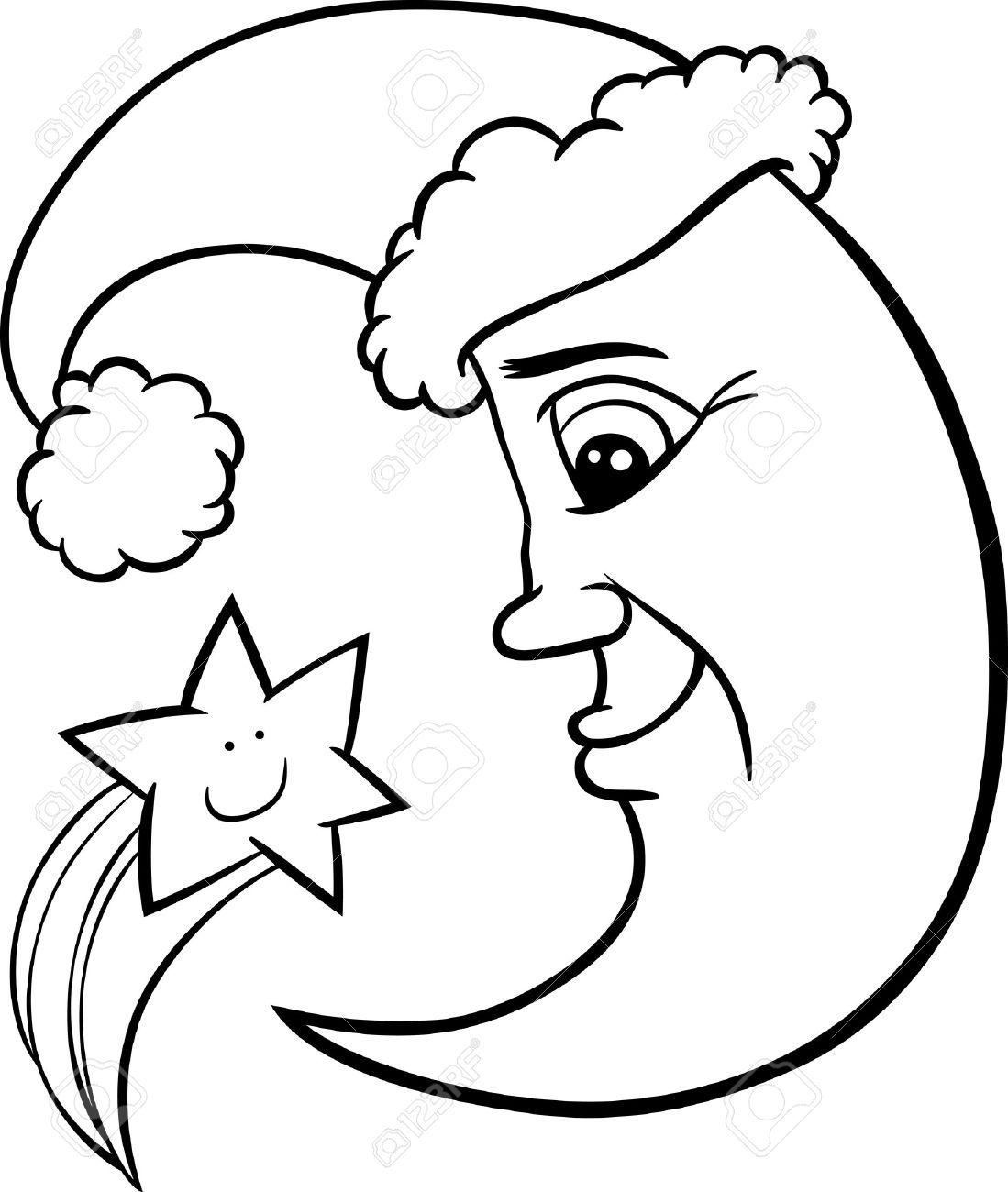 Schwarz-Weiß-Karikatur Illustration Von Funny Mond Als ...
