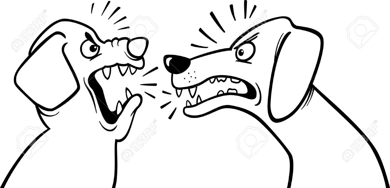 black and white cartoon illustration of two angry barking and