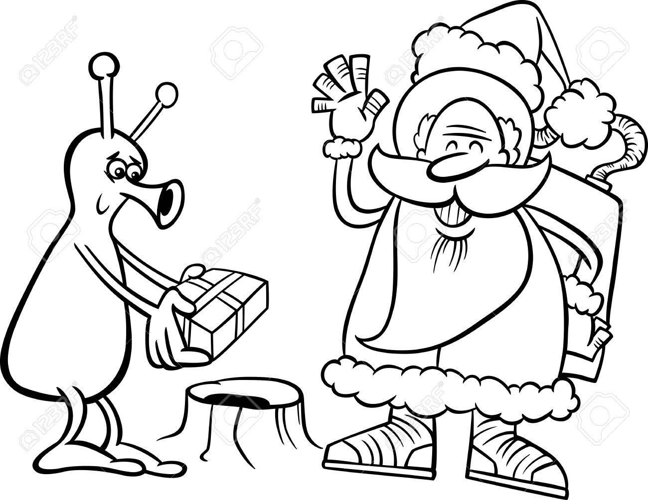 Blanco Y Negro Ilustración De Dibujos Animados De Santa Claus En El ...
