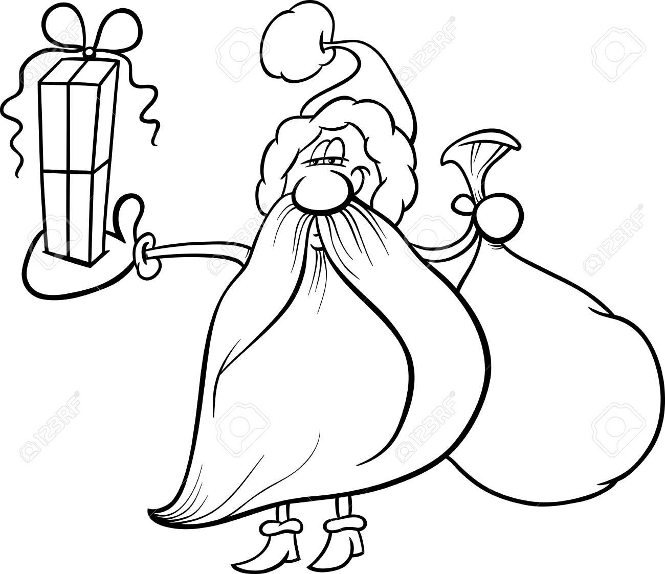 Dessin Animé Noir Et Blanc Illustration Du Père Noël Avec Le Sac Et Le Cadeau De Noël Pour Coloring Book