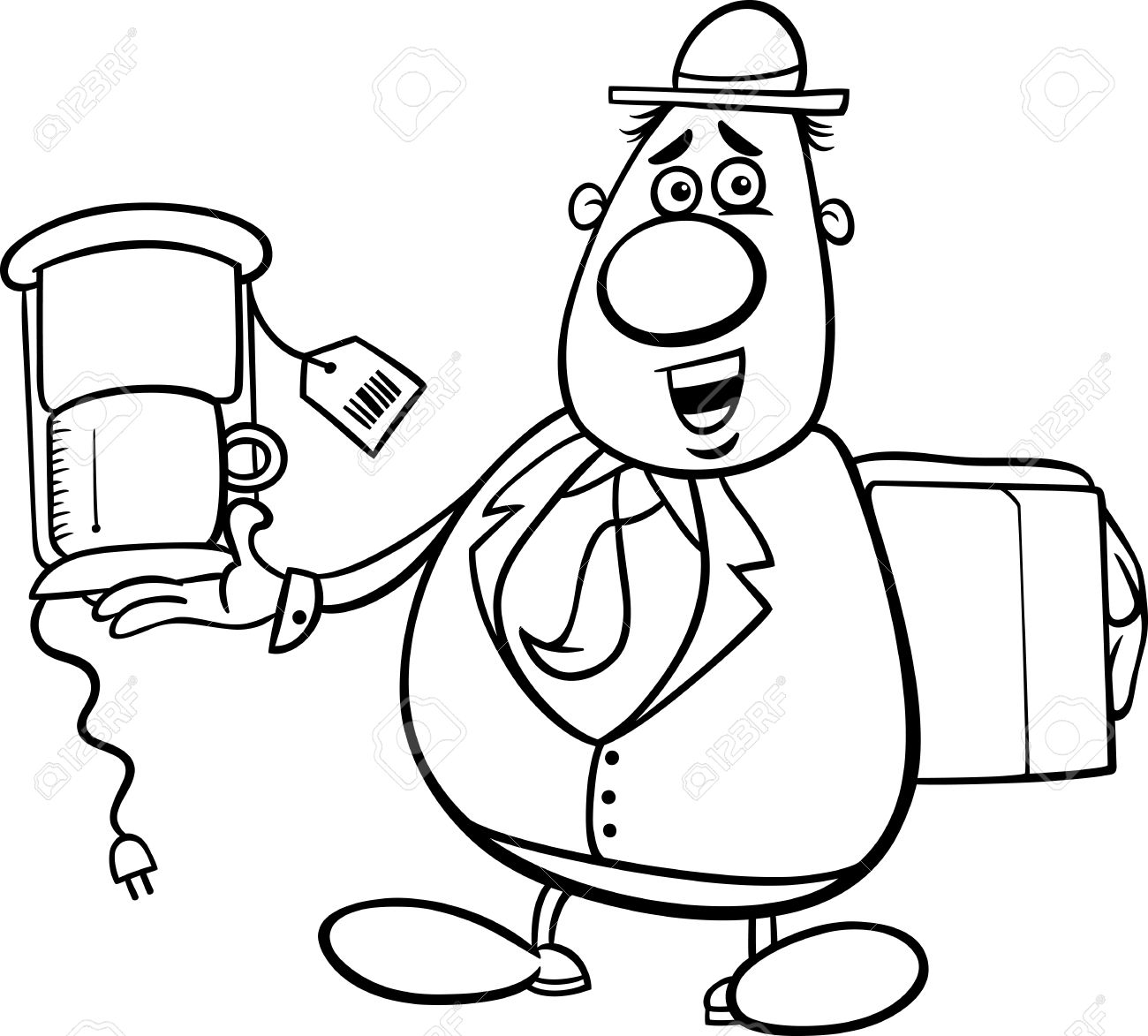 Black And White Cartoon Illustration Of Funny Salesman Or Bagman ...