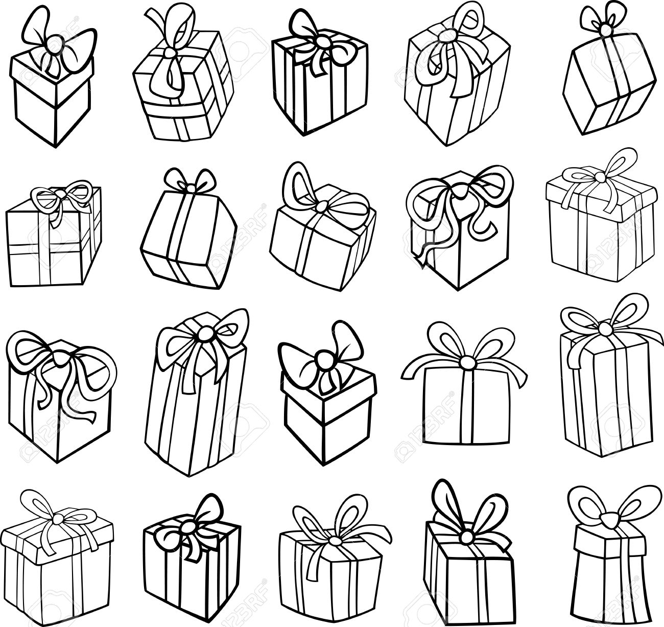 Black and white cartoon illustration of christmas or birthday black and white cartoon illustration of christmas or birthday presents or gifts objects clip art set negle Choice Image