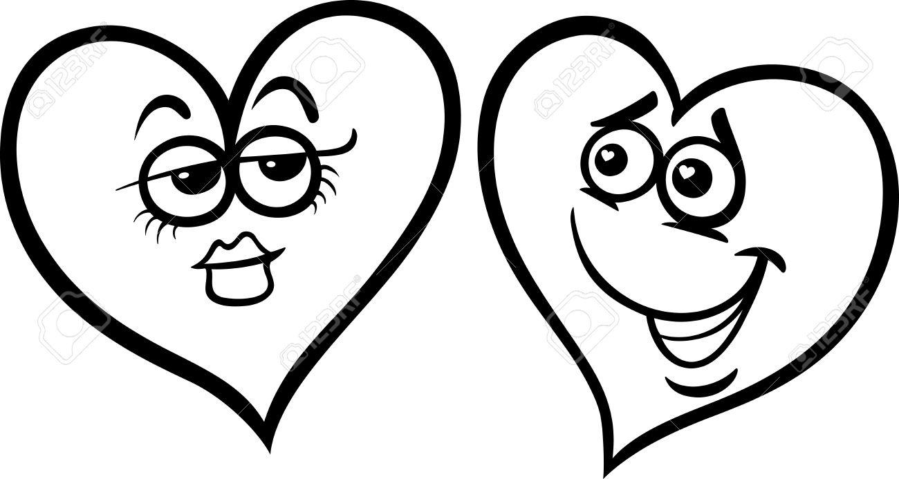 Blanco Y Negro De Dibujos Animados De Ilustracion De Dos Corazones