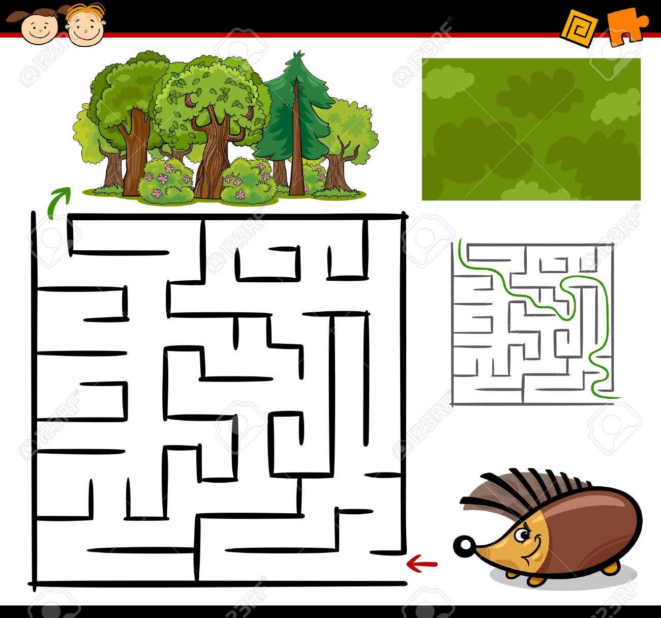 Ilustracion De Dibujos Animados De Maze Educacion O Juego Laberinto