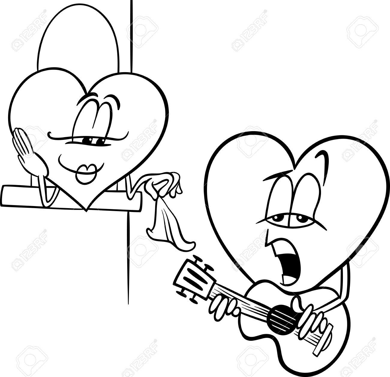 Blanco Y Negro De Dibujos Animados Ilustración De Corazón Trovador Carácter Cantando Canción De Amor En El Día De San Valentín Para Colorear Libro