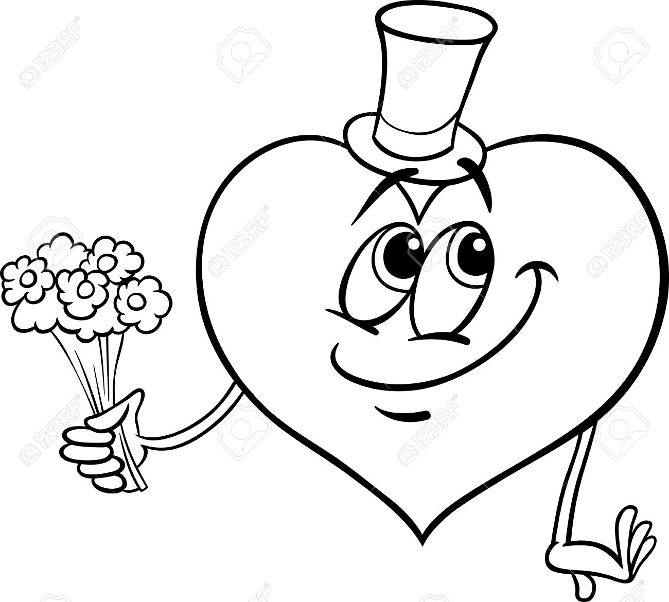 Black And White Cartoon Illustration Of Happy Heart Character
