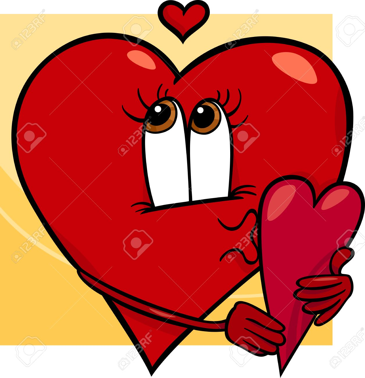 Cartoon Illustration Of Happy Female Heart Character In Love With Valentine  Card Stock Vector   23983952