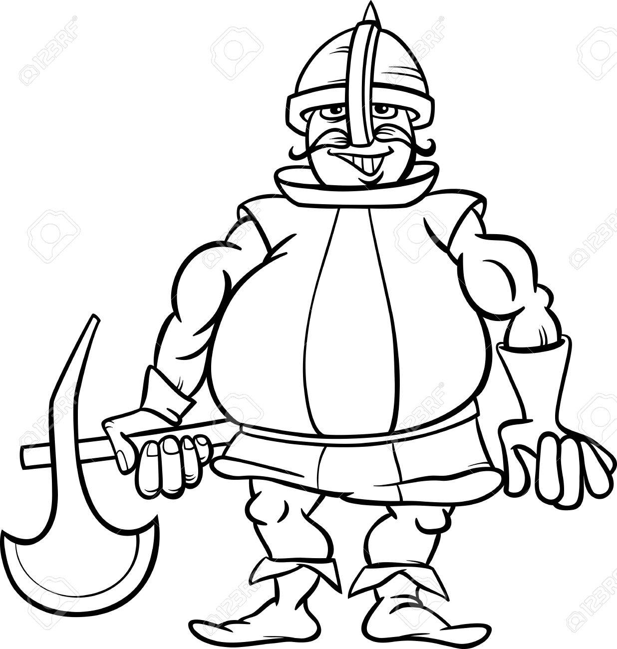 Black And White Cartoon Illustration Of Funny Knight With Axe ...