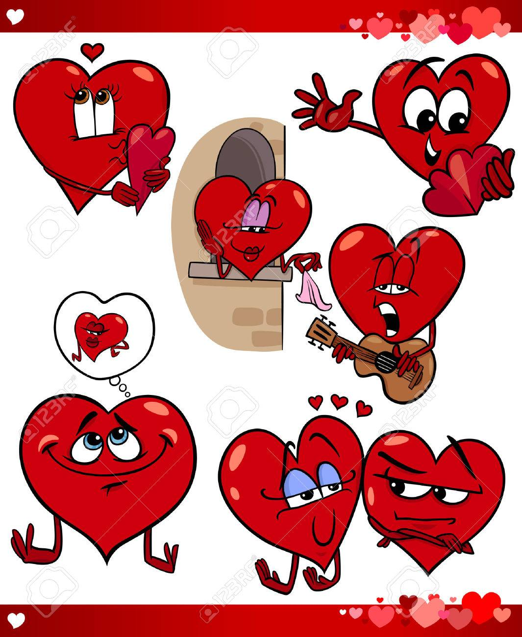 cartoon illustration of cute valentines day and love themes