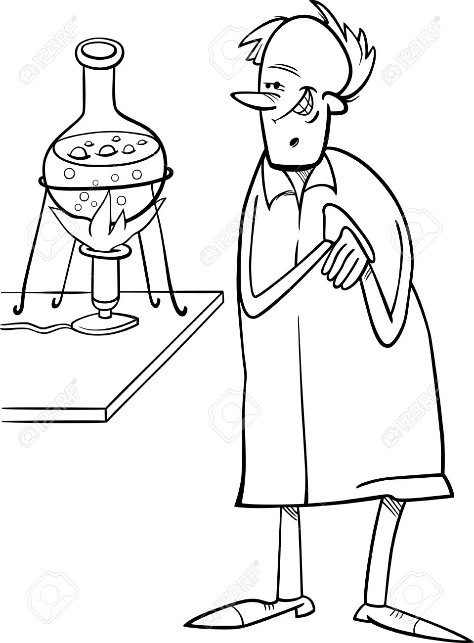 black and white cartoon illustration of funny scientist in