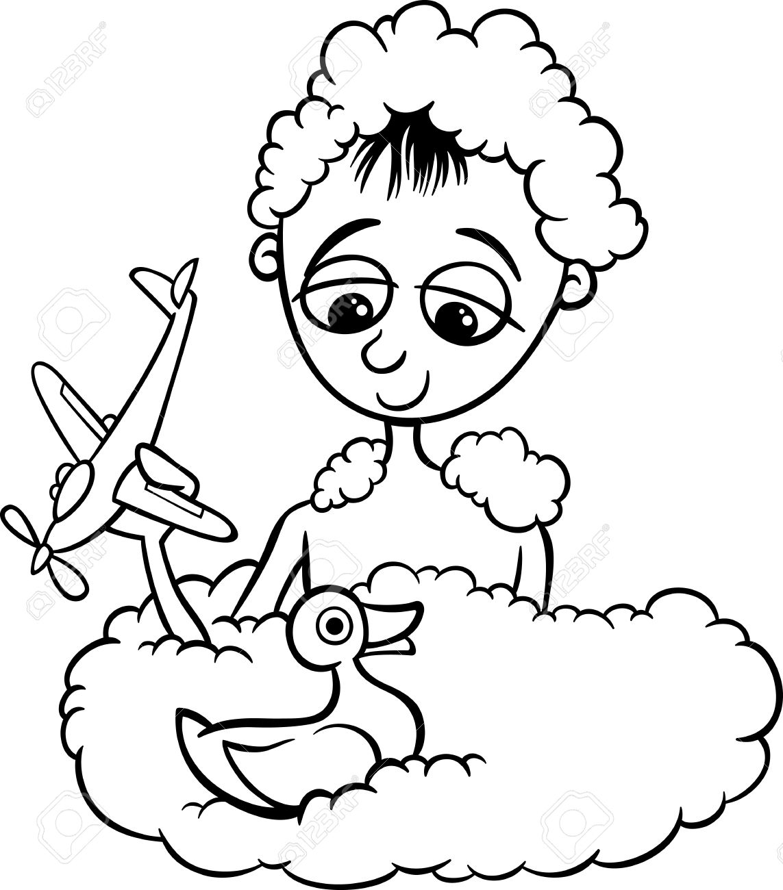 Black And White Cartoon Illustration Of Cute Funny Little Boy ...
