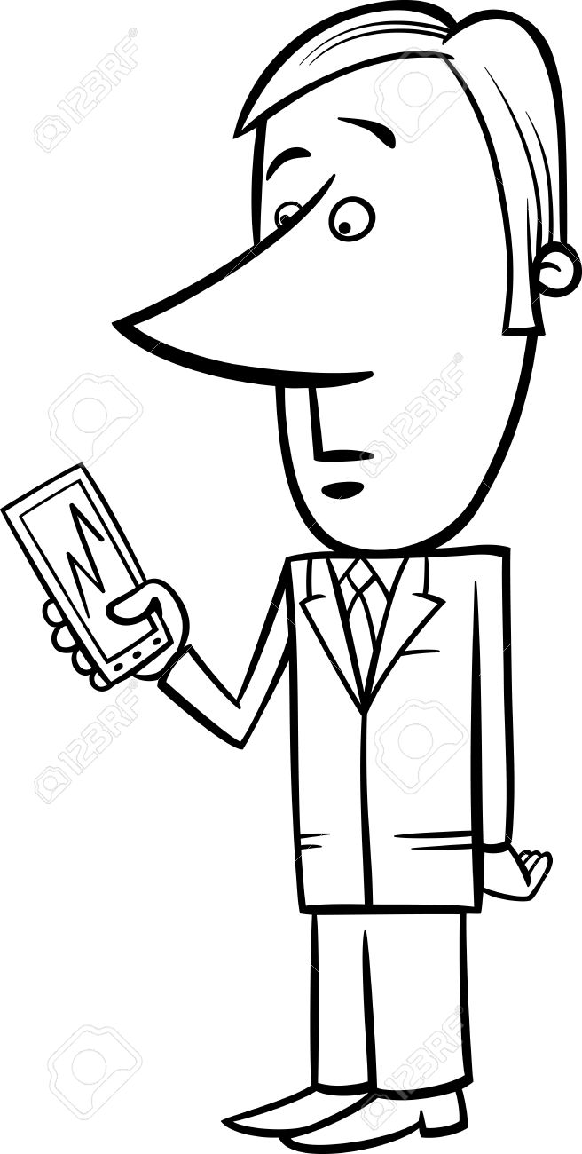 Black and White Concept Cartoon Illustration of Man or Businessman looking at Graph on his Phone or Tablet Stock Vector - 24377971