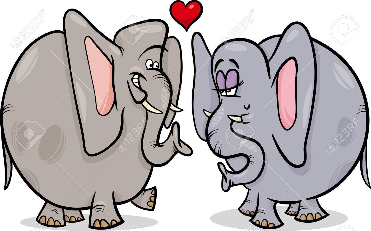 恋に面白い象のカップルのバレンタインデー漫画イラスト ロイヤリティ