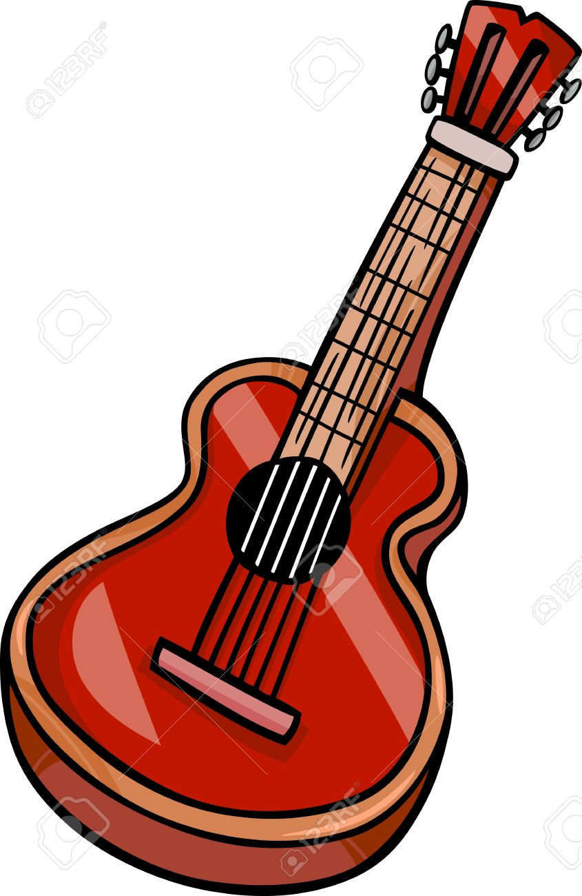 cartoon illustration of acoustic guitar musical instrument clip rh 123rf com simple acoustic guitar clipart acoustic guitar outline clipart