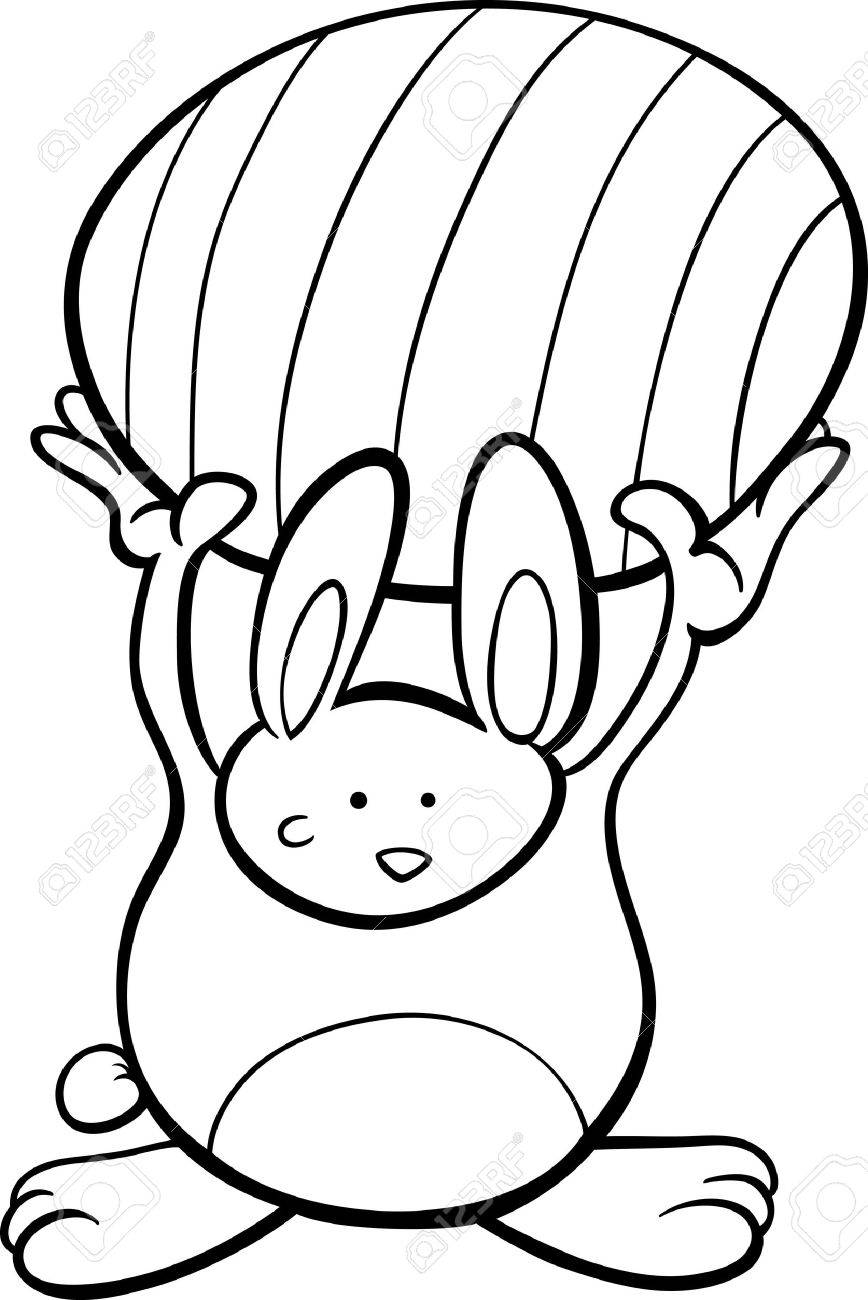 black and white cartoon illustration of cute easter bunny with