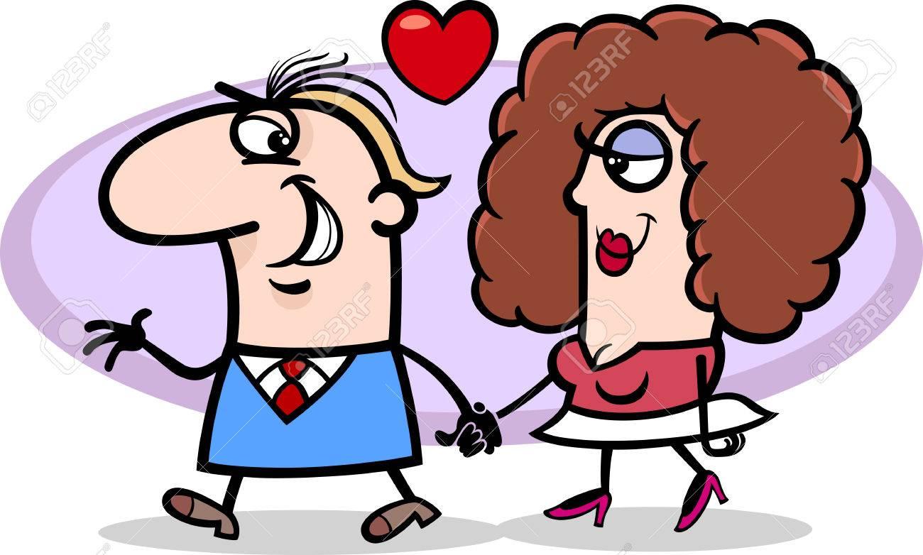 面白いカップル恋のバレンタインの日漫画イラスト ロイヤリティフリー