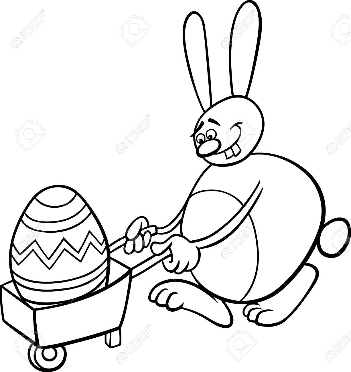 Black And White Cartoon Illustration Of Funny Easter Bunny With Big Egg On Wheelbarrow For Coloring