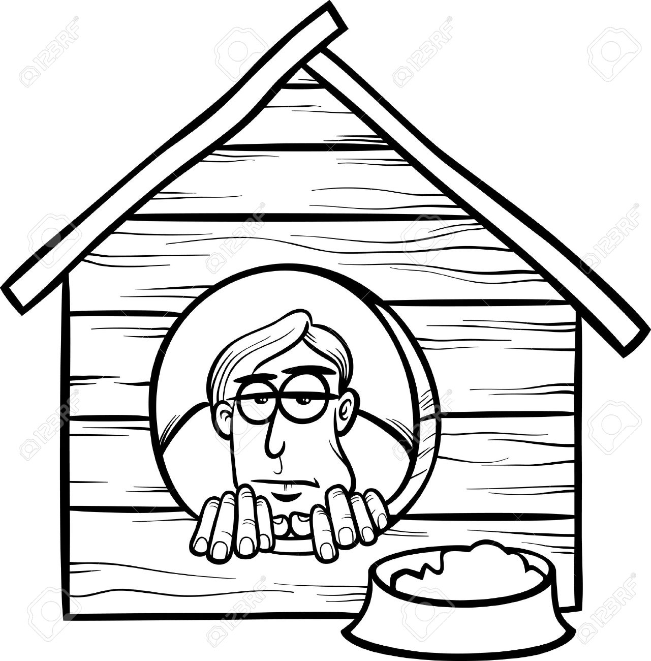Black And White Cartoon Humor Concept Illustration Of In The Dog House Saying Or Proverb For