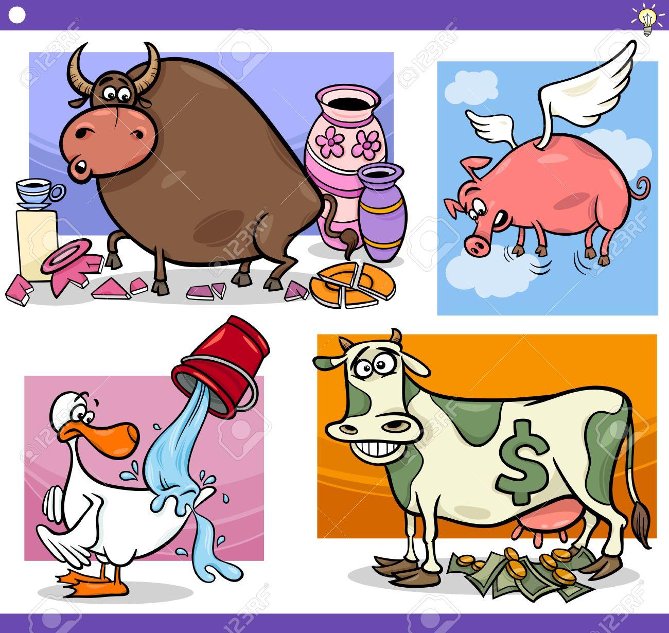図は一連の滑稽な漫画ことわざやことわざの概念と面白い動物のキャラクターを用いた比喩