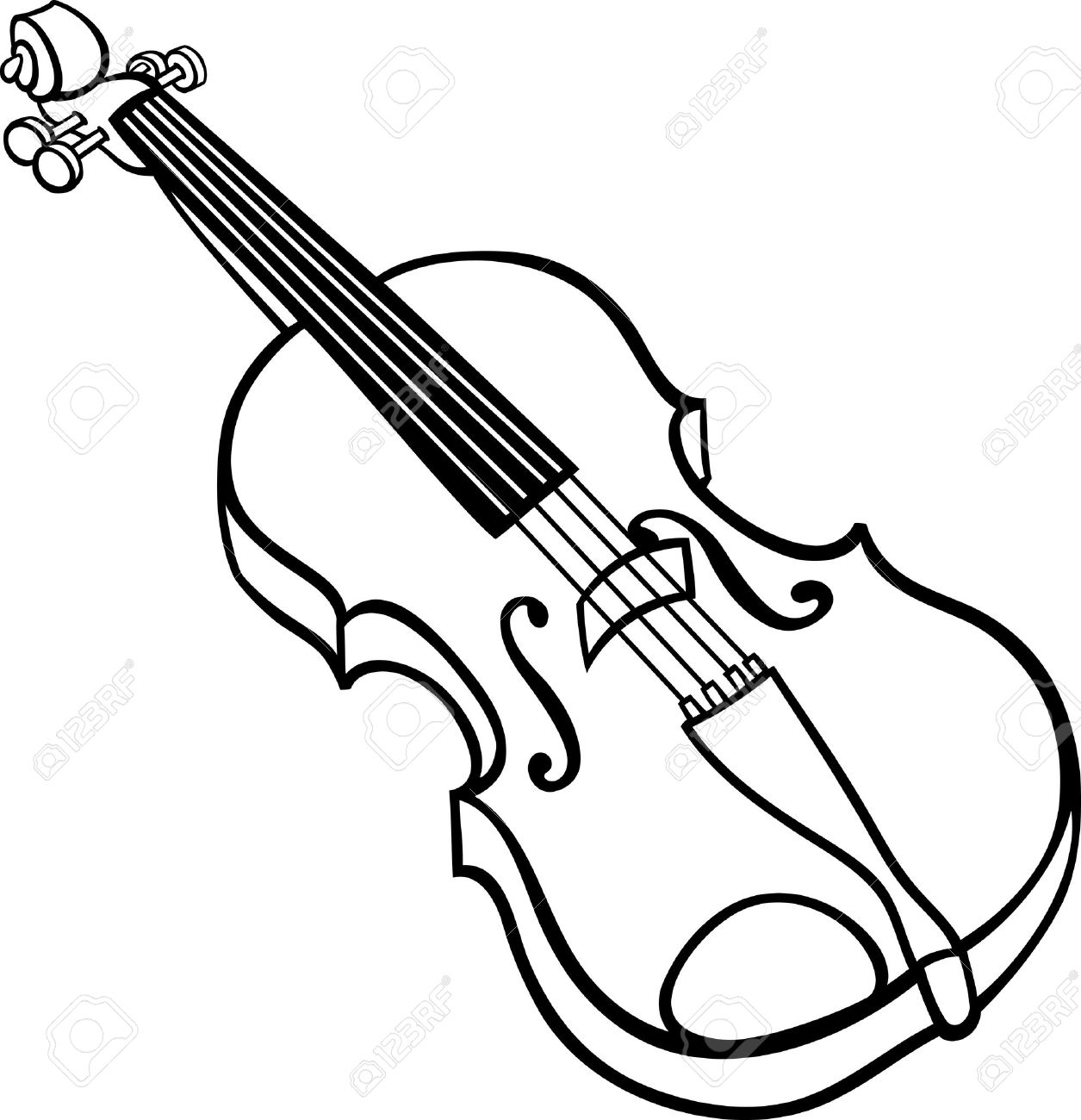 Black And White Cartoon Illustration Of Violin Musical Instrument Clip Art  For Coloring Book Stock Vector