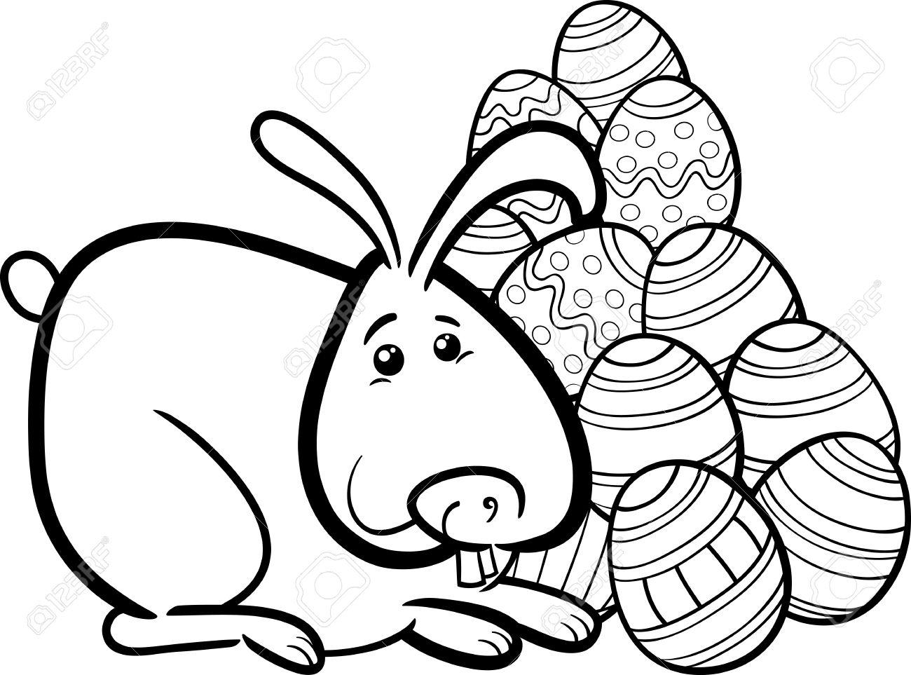 Negro Y Dibujos Animados De Blanco Ilustración De Conejito De Pascua ...