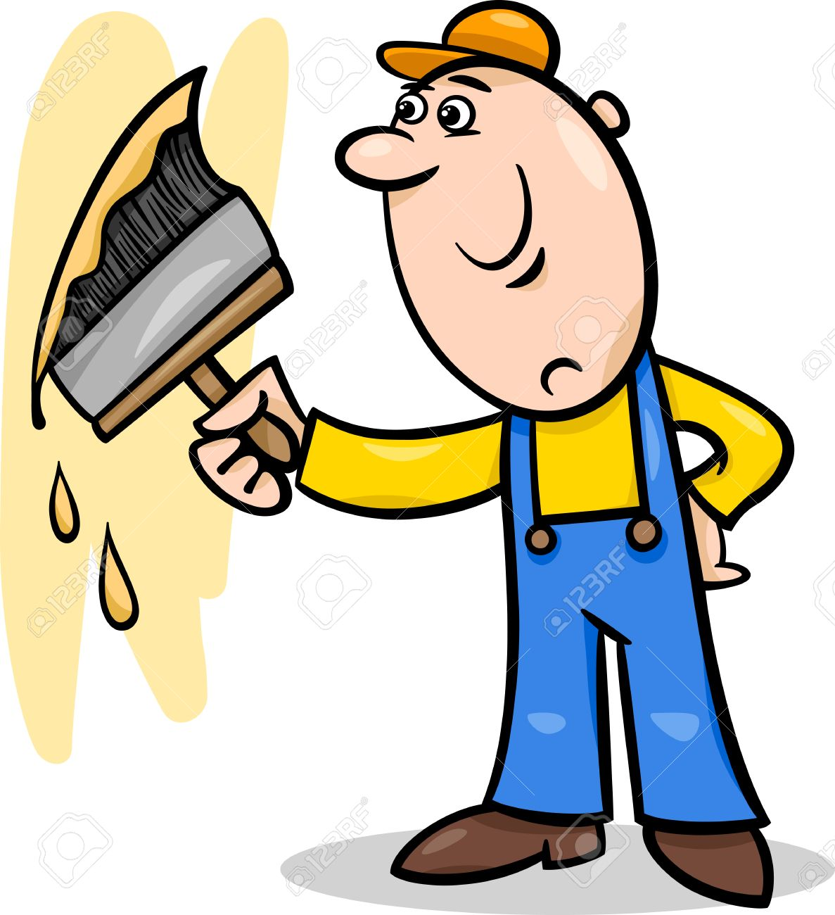 Cartoon Illustration Of Worker With Big Brush Painting A Wall
