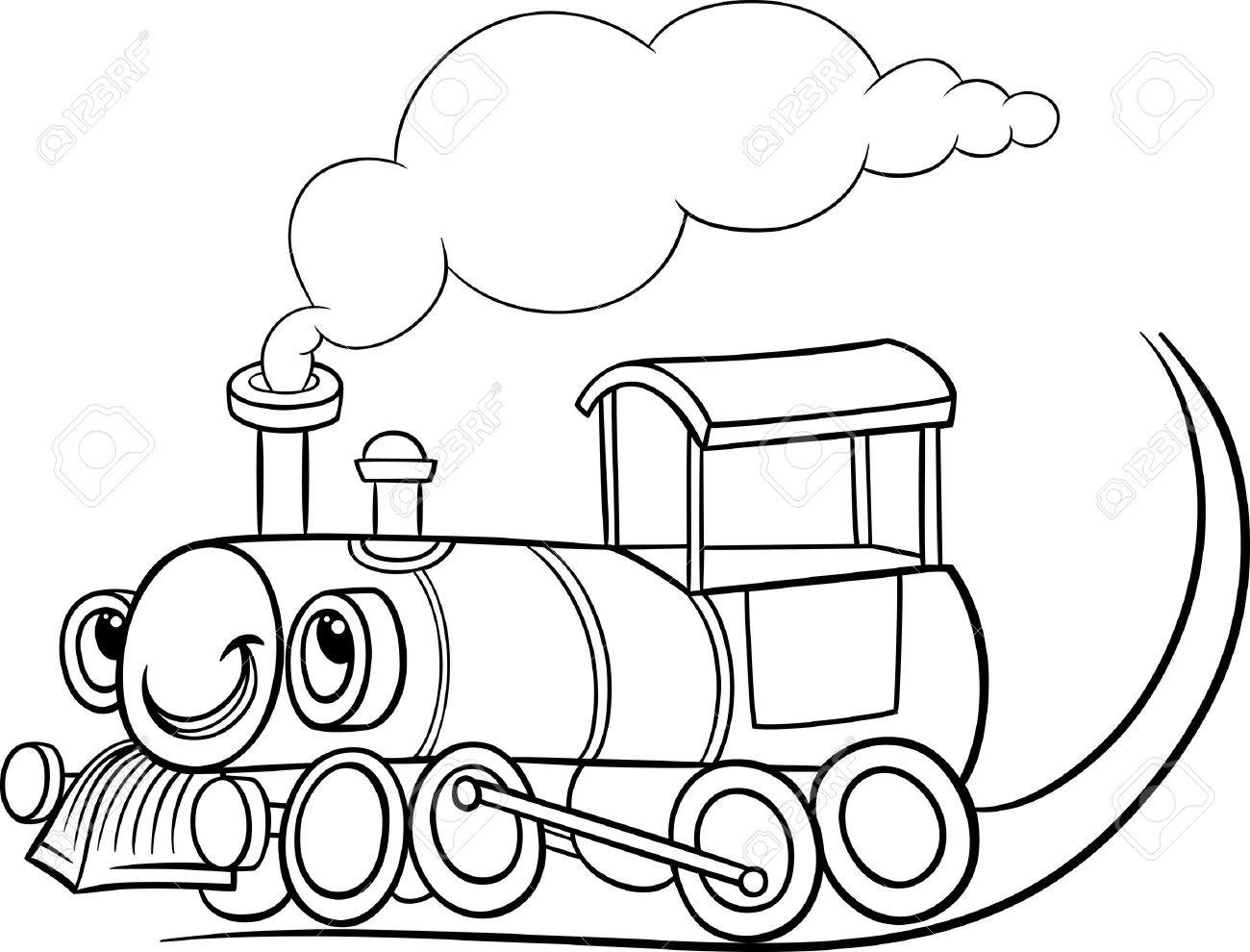 black and white cartoon illustration of funny steam engine