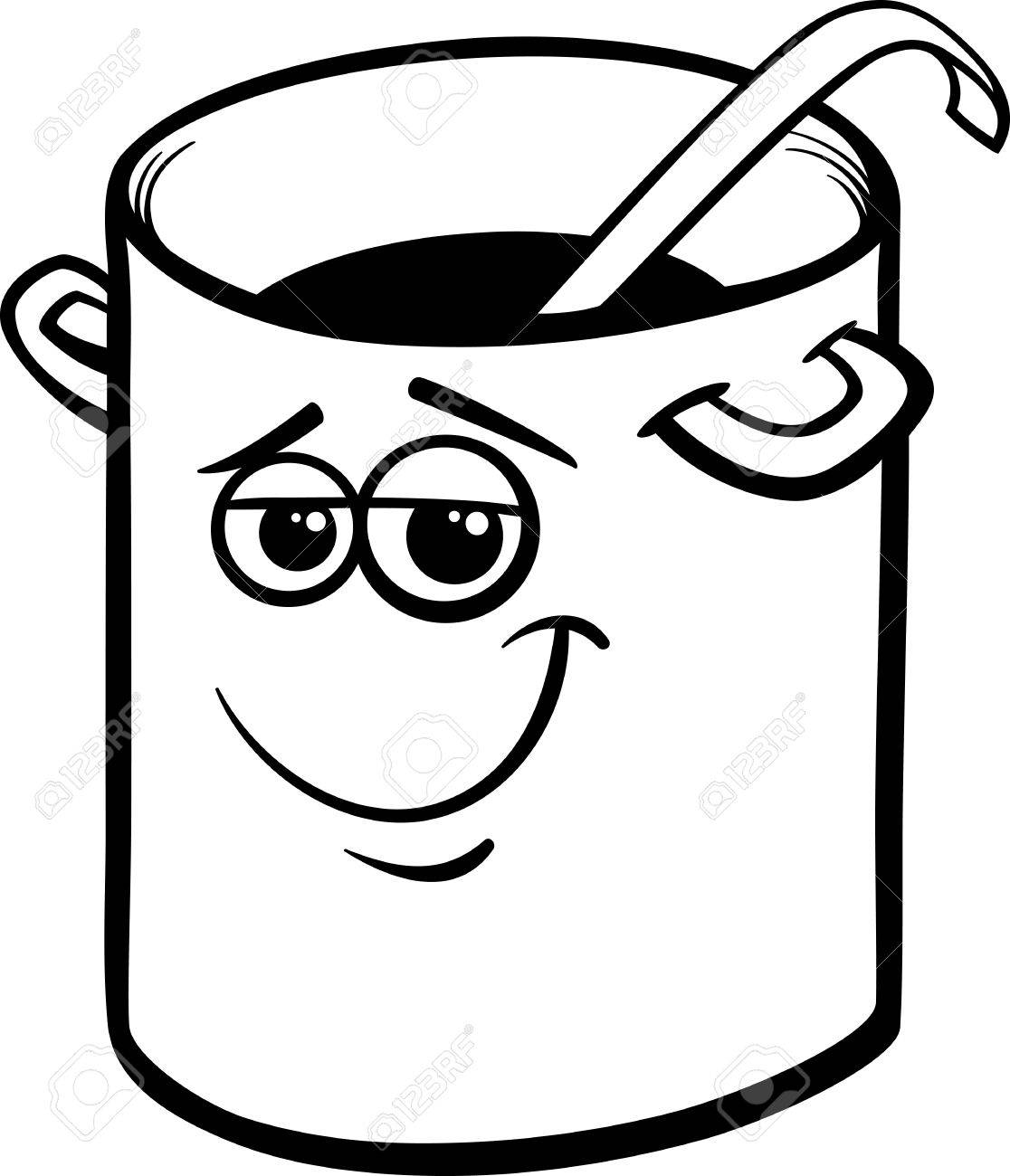 pan clipart black and white. funny black and white cartoon pot or pan with ladle stock vector - 25894312 clipart