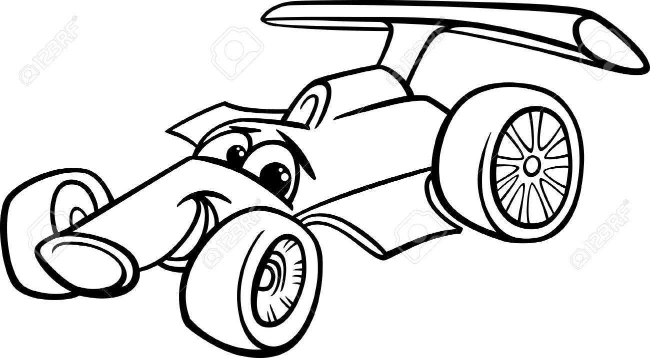 black and white cartoon funny racing car royalty free cliparts rh 123rf com