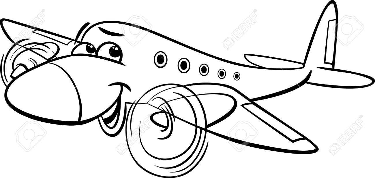 Airplane Cartoon Drawing Black And White