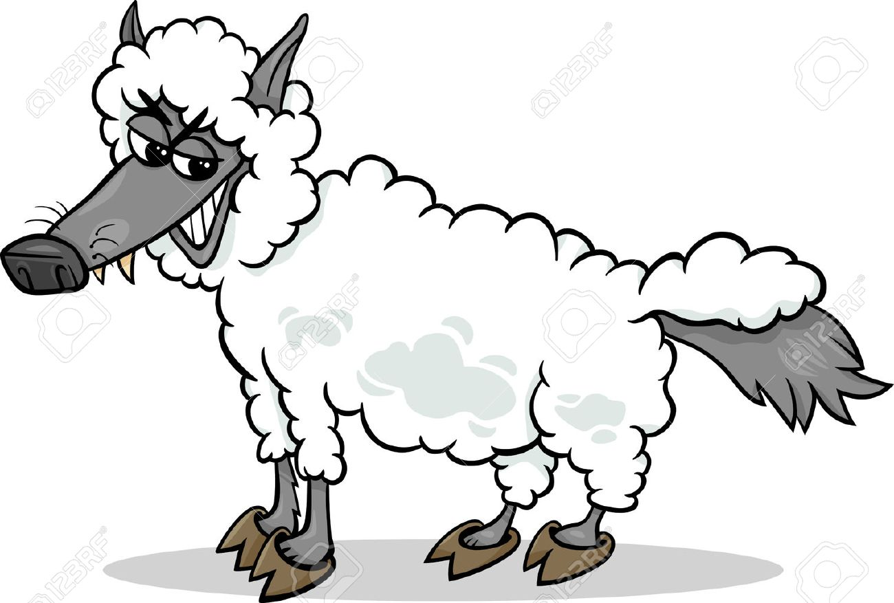 A wolf in sheep's clothing stock vector. Illustration of houses.