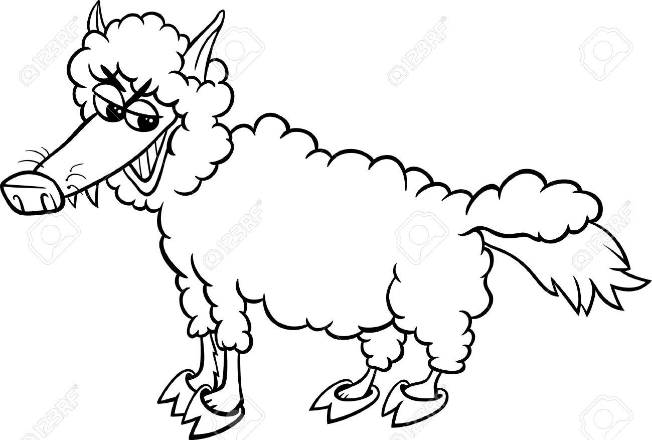 Blanco Y Negro De Dibujos Animados Humor Ilustración Del Concepto De Lobo Con Piel De Ovejas Decir O Proverbio Para Coloring Book