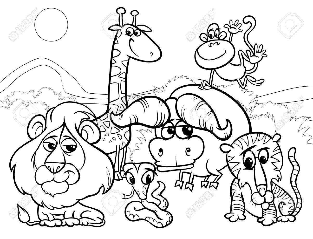 Blanco Y Negro De Dibujos Animados Ilustración De Escena Con ...