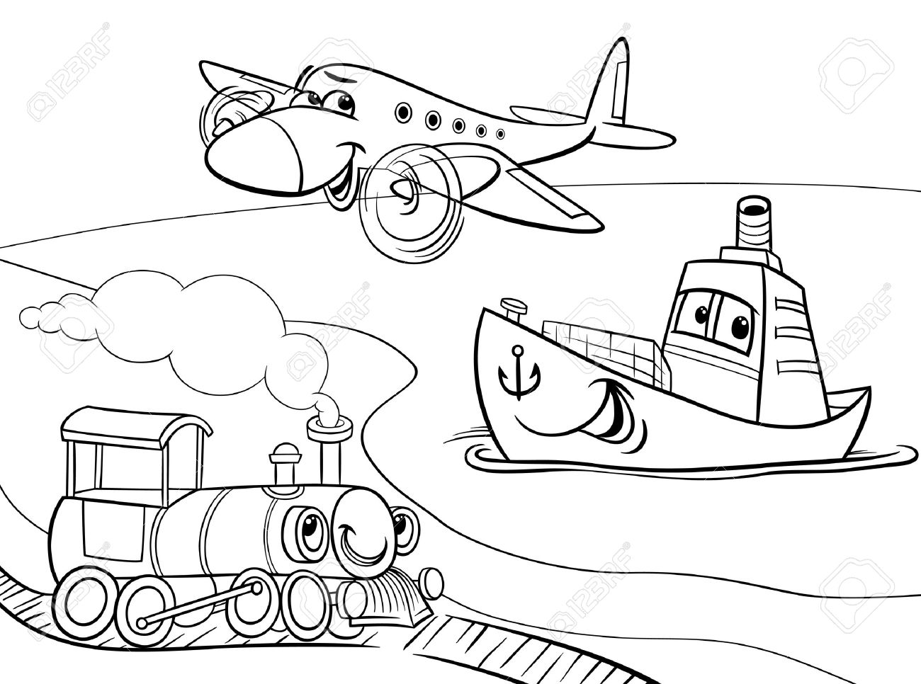Black And White Cartoon Illustration Of Funny Plane Train Ship Transport Comic Characters Group