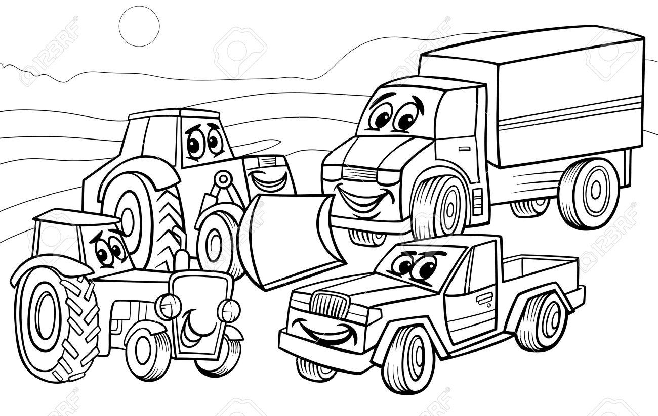 面白い車とマシンまたはトラック車漫画文字グループ塗り絵用の黒と白の