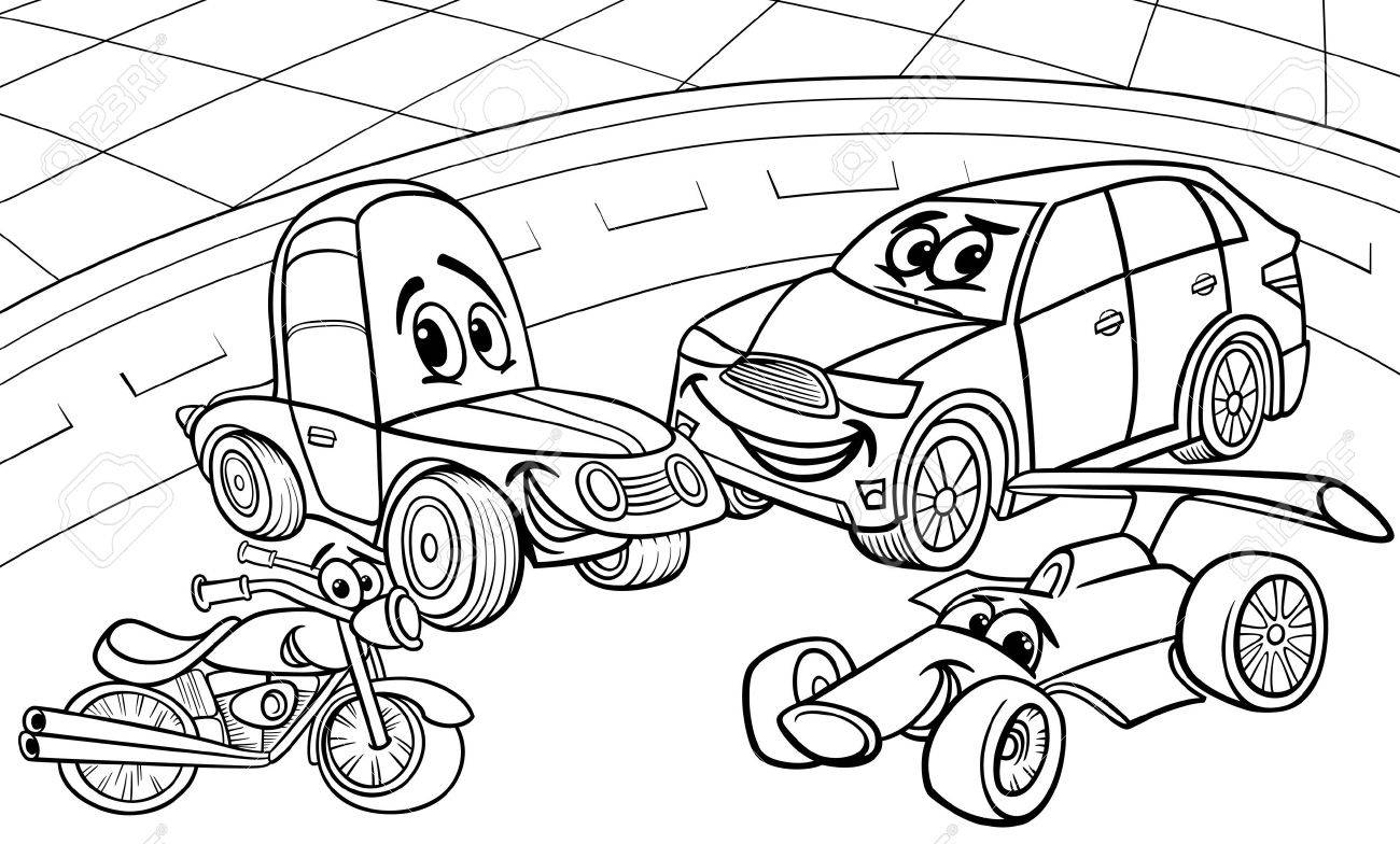 Black and White Cartoon Illustration of Funny Cars and Vehicles..