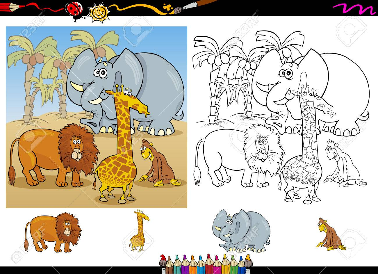 Cartoon Illustration Of Funny Safari Wild Animals Group For Coloring Book With Elements Set Stock Vector